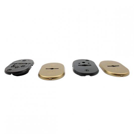Накладки из латуни для сувальдных замков с втулкой - направляющей для ключа, овальные фото_1
