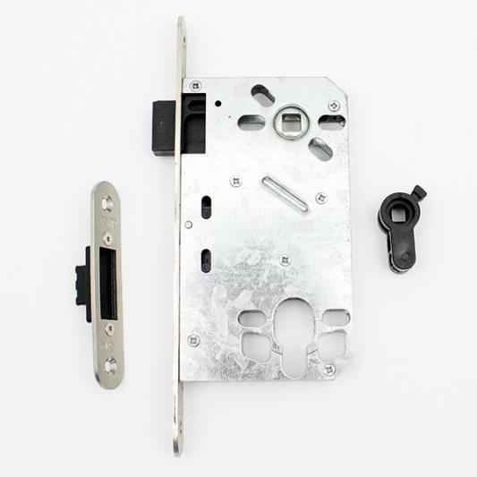Замок межкомнатный магнитный, фиксация туалет/ванная, матовый никель фото_1