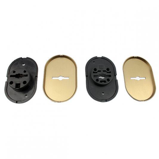 Накладки из латуни для сувальдных замков с втулкой - направляющей для ключа, овальные фото_3